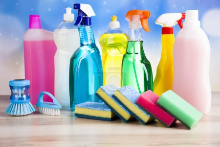 Photo for Variety of cleaning products, home work - Royalty Free Image