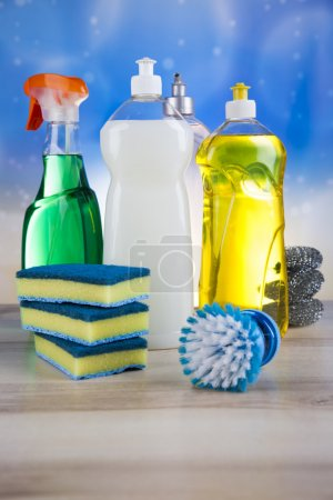 Group of assorted cleaning for home work