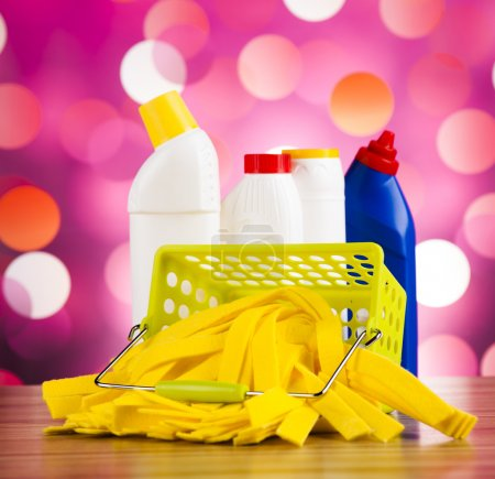 Photo for Cleaning supplies for home work,  colorful theme - Royalty Free Image