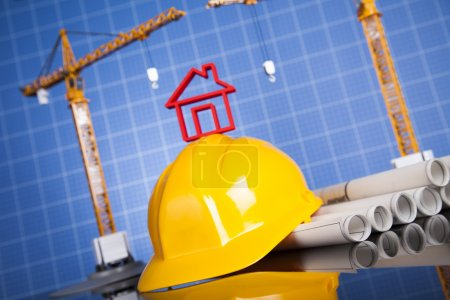 Photo for Construction site with cranes and building concept - Royalty Free Image