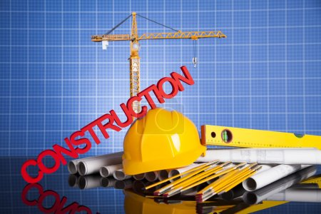 Construction site with cranes and building concept
