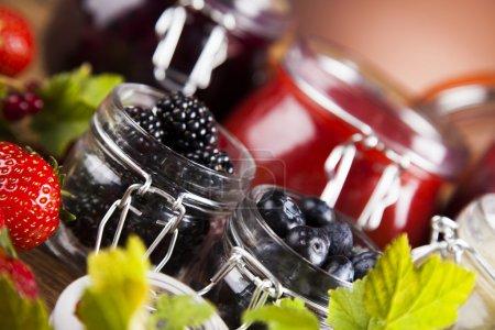 Homemade fruit jam in the glass