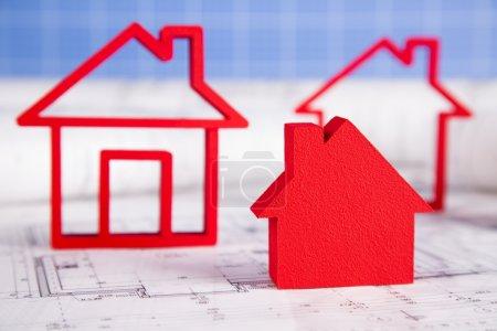 House model, architecture blueprints concept