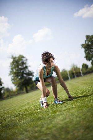 woman preparing to jogging