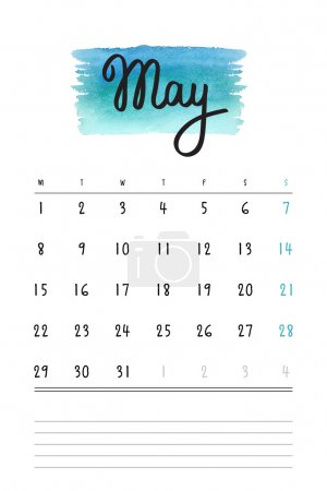 Vector calendar 2017 template with light blue watercolor stain and lines for notes. Hand drawn lettering - spring month - May 2017.