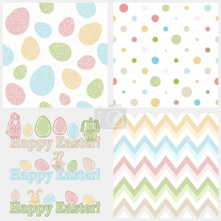 Set of four easter elements - seamless patterns (eggs, polka dots and chevron) and cute easter bunnies with words HAPPY EASTER! Ideal set to create your own invitations, greeting cards, tags, etc