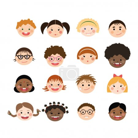 Vector set of children smiling faces.