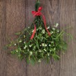 Christmas mistletoe plant with berries tied in a b...