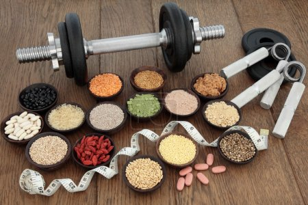 Body Building Equipment and Food Selection