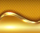 Abstract business background gold with golden metallic wave elegant vector illustration