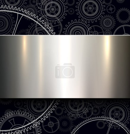 Illustration for Background with technology gears and metallic shiny banner, vector illustration. - Royalty Free Image