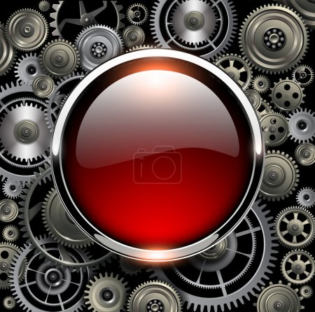 Illustration for Red glossy button on gears background, vector illustration. - Royalty Free Image