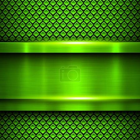 Illustration pour Fond vert métallique, texture métallique vectorielle . - image libre de droit