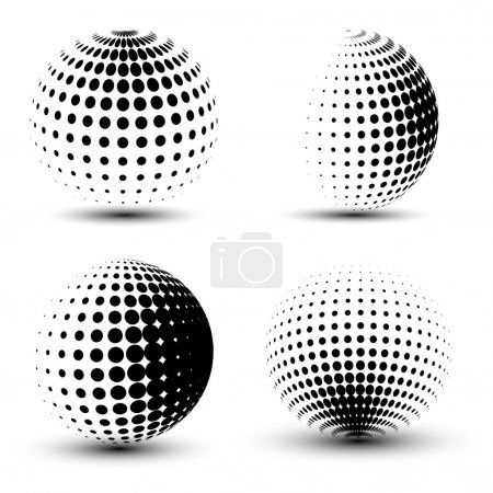 Illustration for 3D vector halftone spheres. Set of halftone vector backgrounds. Halftone design elements - Royalty Free Image