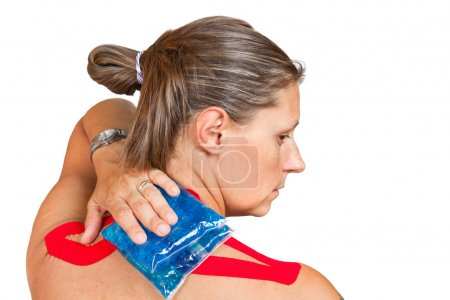 woman with medical taping