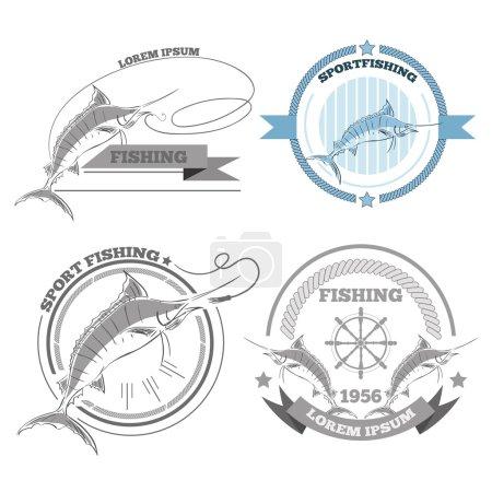 Labels of marlin fishing emblems badges design elements eps 10