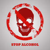 Alcohol stop skull design  vector eps 10 illustration