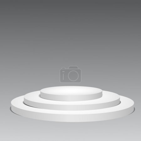 3d empty white podium on gray background. Vector illustration ep