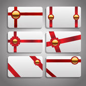 Set of beautiful cards with red gift bows with ribbons Vector ep