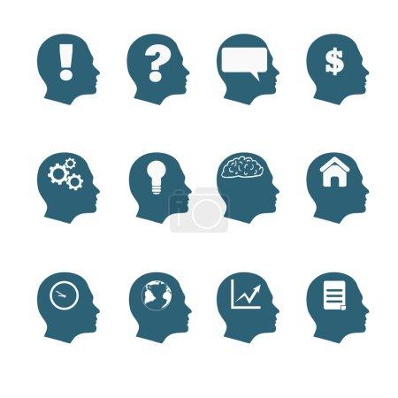 Human mind icons style flat design eps 10
