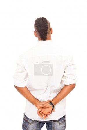African man looking at the white wall