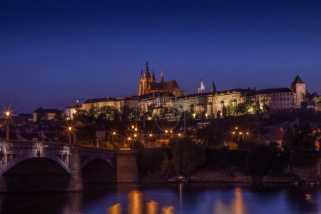 view of Prague by night