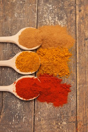 Colorful spices over wooden table