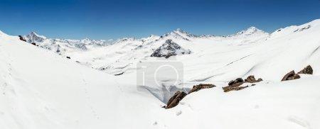 panorama of Mount Elbrus and the Main Caucasian ridge winter in sunny weather