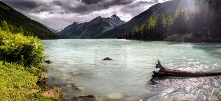 Dusk by a lake in the Altai Mountains, Russia