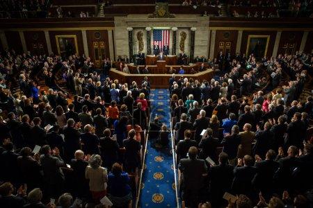 Photo pour Washington d.c., Etats-Unis - 18 septembre 2014 : discours prononcé par le Président de l'ukraine petro poroshenko à la session conjointe du Sénat et chambre des représentants à washington, dc (usa) - image libre de droit