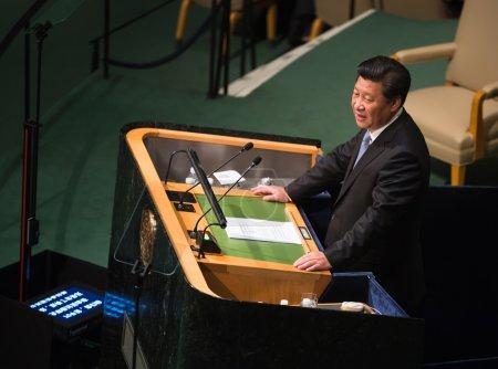 Photo pour New York, Usa - Sep 28, 2015 : Le Président de la République populaire de Chine Xi Jinping prend la parole à l'ouverture de la 70e session de l'Assemblée générale de l'Organisation des Nations Unies à New York - image libre de droit