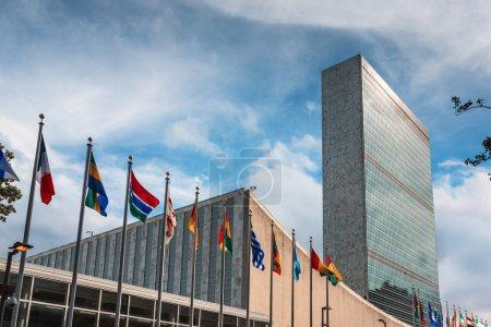 Photo pour New York, États-Unis - 27 Sep 2015 : 70e session de l'Assemblée générale des Nations Unies. Bâtiment des Nations Unies à New York est le siège de l'Organisation des Nations Unies. - image libre de droit
