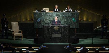Photo pour New York, Usa - 29 septembre 2015 : Discours de la Présidente de l'Ukraine Petro Poroshenko lors du débat général de la 70e session de l'Assemblée générale des Nations Unies à New York - image libre de droit