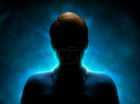 Photo pour Silhouette d'un mystérieux personnage avec un fort contre-jour bleu. Illustration numérique. - image libre de droit