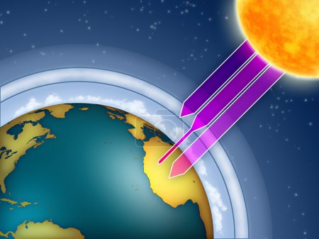 Photo pour Ozone atmosphérique filtrant les rayons ultraviolets du soleil. Illustration numérique. - image libre de droit