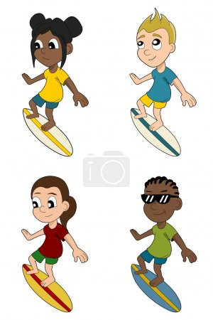 Diverse surfers cartoon collection