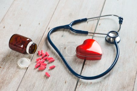 stethoscope and heart healthcare