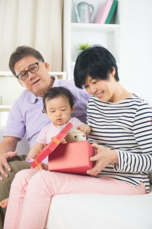 Grand parents with child celebrating christmas