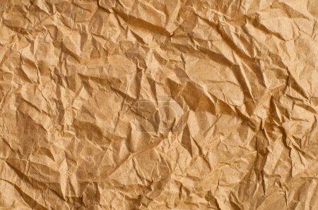Photo pour Papier kraft froissé fond, couleur marron - image libre de droit