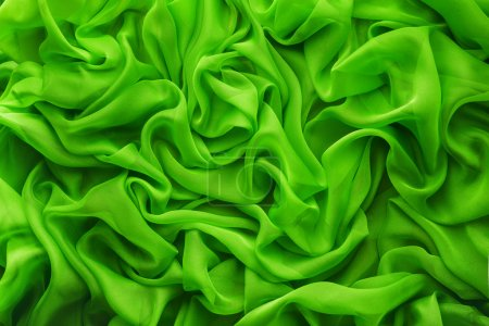 Fabric Waves Background, Cloth Wave, Green Clothes Texture