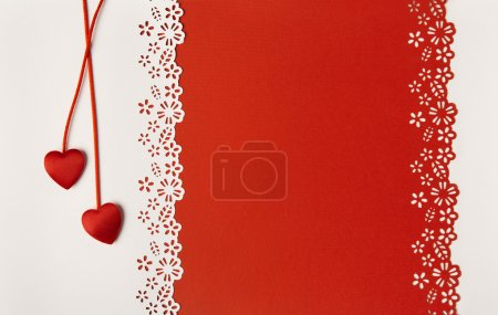 Photo for Valentine Day Hearts Red Background. Empty Greeting Card Decorative Love Template. Wedding Invitation Concept - Royalty Free Image