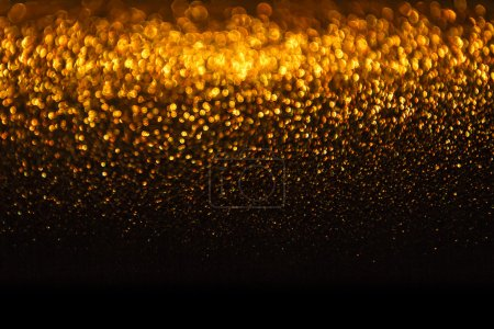 Photo for Lights Background, Abstract Gold Blur Holiday Light, Christmas Golden Glowing Bokeh Dots - Royalty Free Image