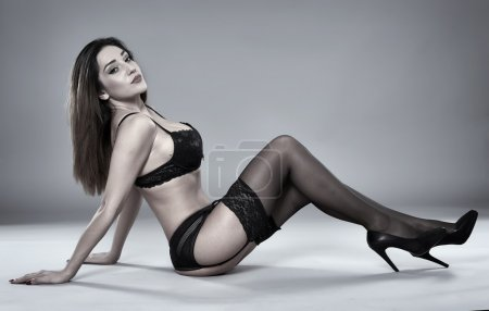 Photo for Full length of a beautiful latino girl in lingerie posing - Royalty Free Image