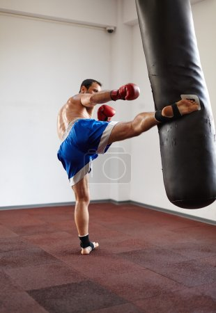 Kickboxer training with punchbag