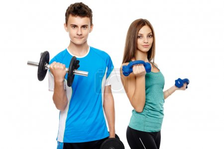 Teens doing fitness