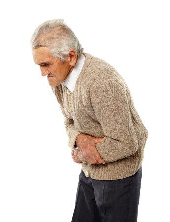 Senior man with abdominal pain