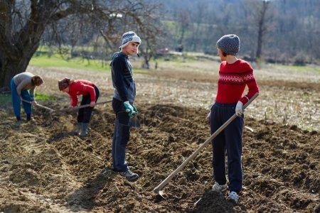 Photo pour Personnes qui ensemencent des tubercules de pomme de terre dans le sol labouré - image libre de droit