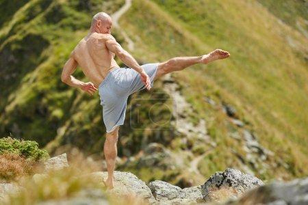 Kickboxer practicing shadow boxing