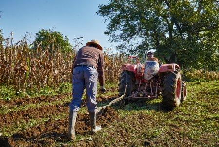 Family of peasant harvesting potatoes