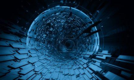Photo pour Fond bleu futuriste 3D - image libre de droit